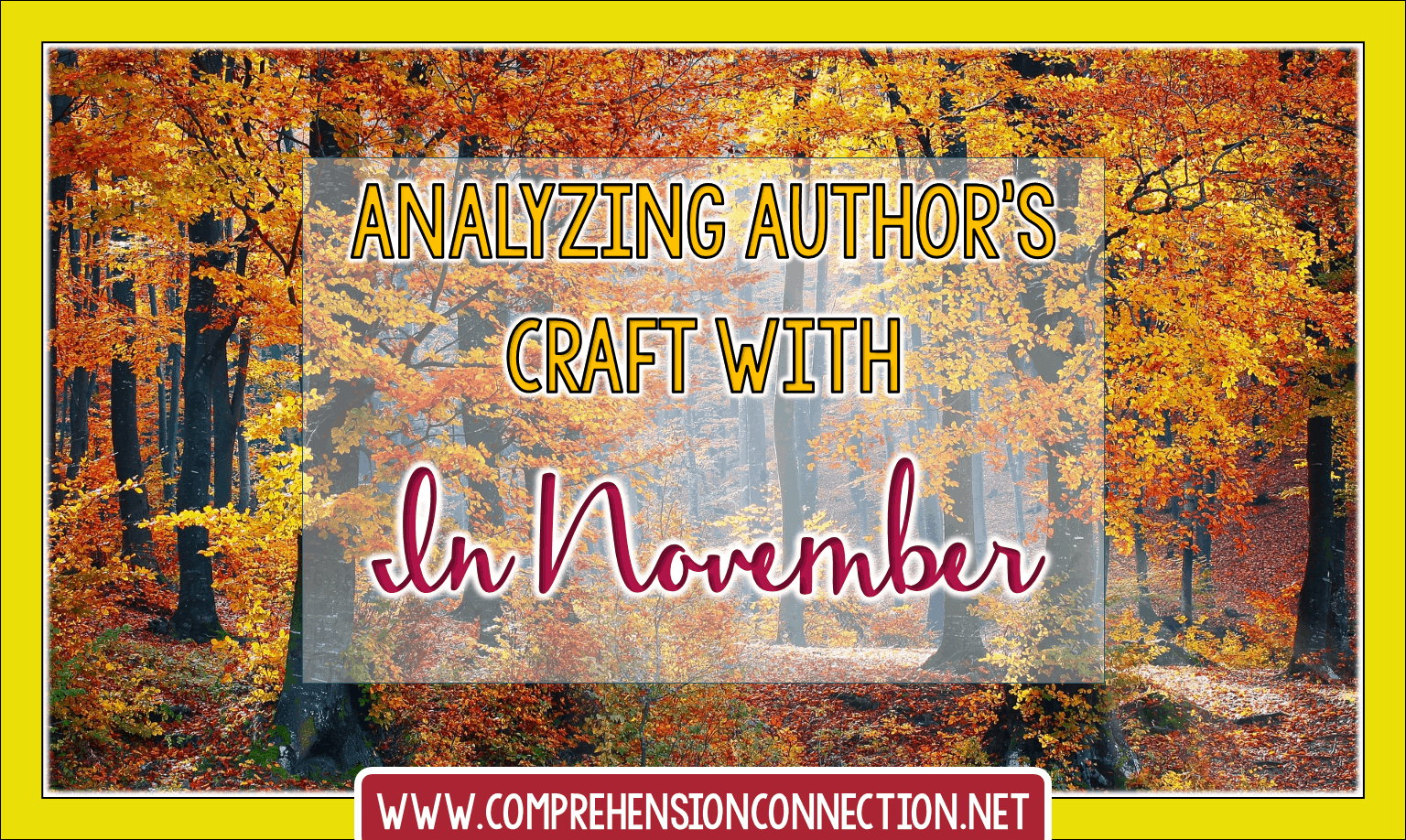 Teaching author's craft starts with great mentor texts. In this post, the book, In November, is used for modeling this skill. It includes a free materials for a print and go lesson.