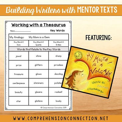 Using a thesaurus to elaborate descriptive writing can make a huge difference. This post includes everything you'll need for creating rich descriptions patterned after the text.