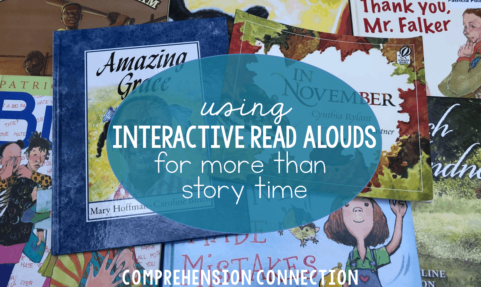 """With interactive read alouds, we can model important comprehension skills using the Think Aloud approach. By carefully selecting texts, we can """"double dip"""" instruction."""