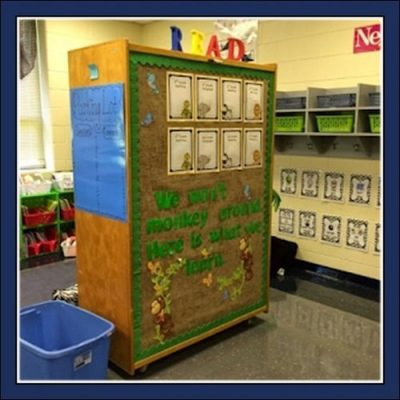 Keeping assignments organized and kids focused worked well with the back side of my storage cabinet!