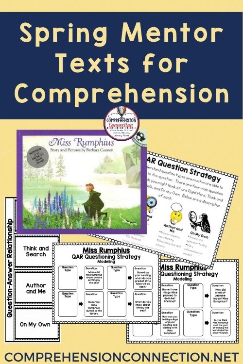Need titles that work well in the spring? This post offers spring mentor texts for key reading skills. This freebie for questioning skills with the book, Miss Rumphius is included.